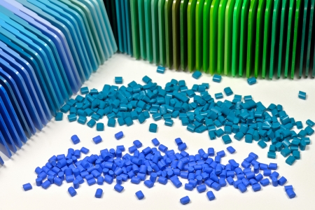 polymer resin dyed in two different blue colors with correspondending color samples