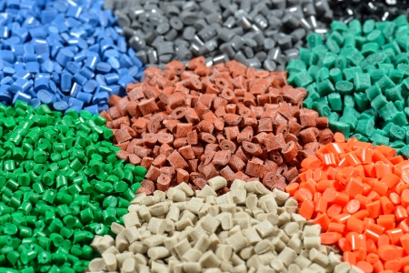 pellets: several dyed polymer pellets for plastic industry  Stock Photo