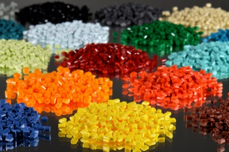 several polymer batches for coloring in injection moulding process