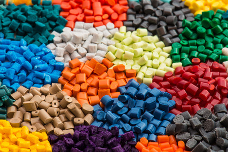 plastics: lot of dyed polymer resins in laboratory Stock Photo