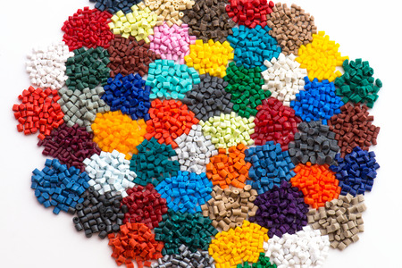 compounding: lot of dyed polymer resins in laboratory Stock Photo