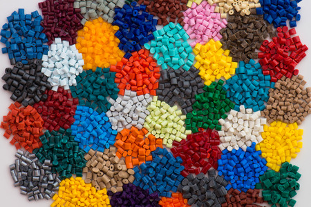 compounding: dyed plastic granulate resins Stock Photo
