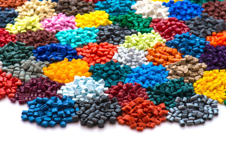 dyed plastic granulate resins Фото со стока