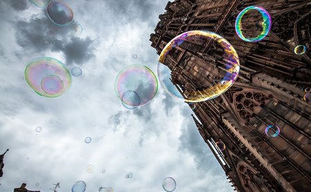 colorful soap bubbles flying up to the sky Stock Photo