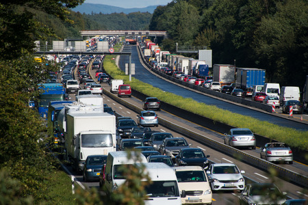 congestion: traffic jam on motorway due to road works