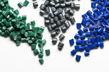 bue, gray and green plastic granules for injection molding photo