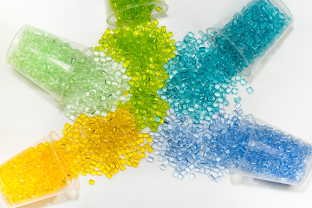 translucent dyed polymer resin in laboratory on white background
