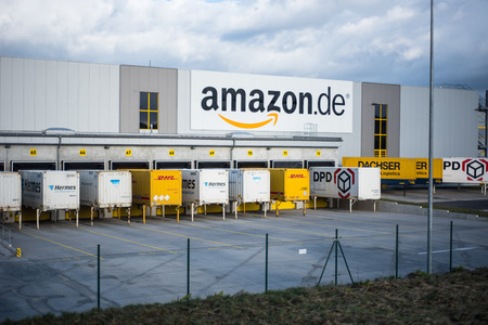 base of online trader Amazon in Germany (Koblenz) at stormy day 에디토리얼