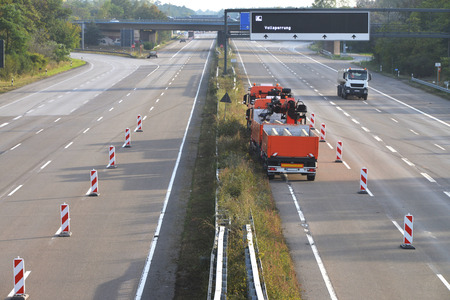 motorway: construction site equipment on closed highway Stock Photo