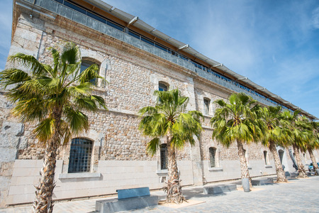 public building with palms at high noon in Spain photo