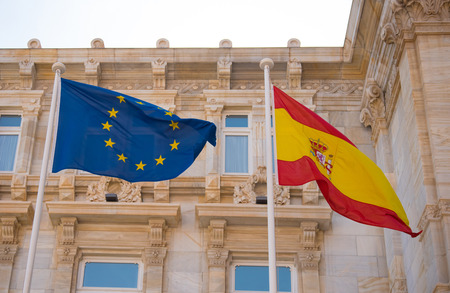flag spain: flags from European Community and Spain Stock Photo