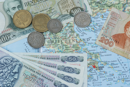 greek coins: Old Greek currency drachma on map