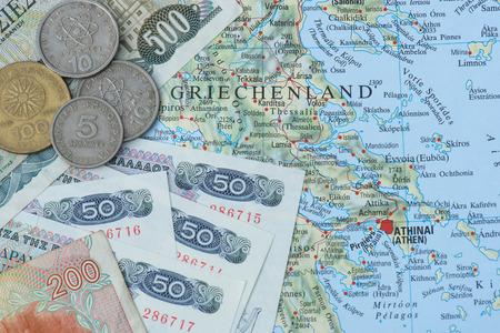 greek currency: old greek currency drachma on map og Greece