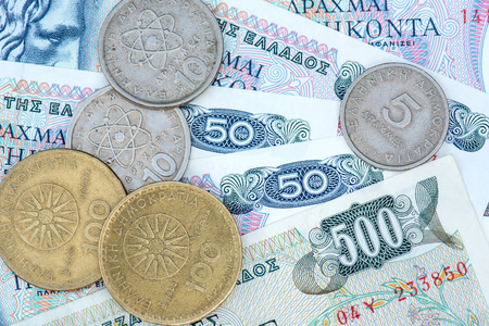 greek currency: old greek currency in notes and coins Drachma