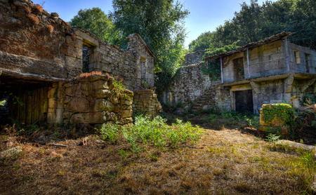 galicia: Abandoned old village in the mountains Stock Photo