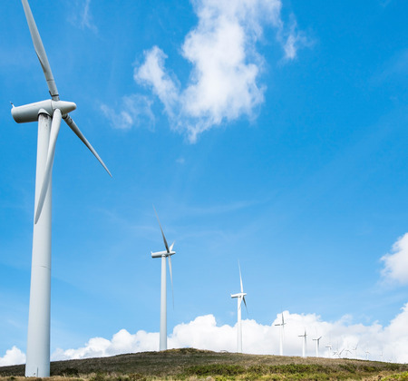 powered: windmill powered plant on hilltop in Northern Spain Stock Photo