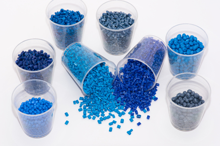thermoplastic: a variety of blue thermoplastic polymer resins