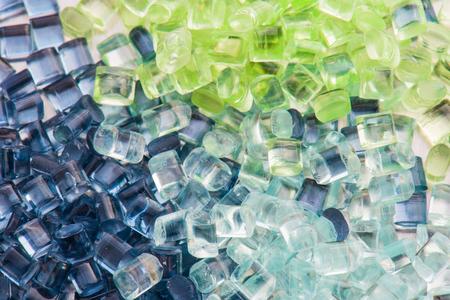 materia prima: tres resinas de polímeros polarizados diferentes Foto de archivo