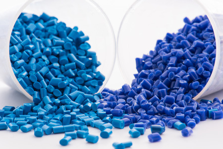extrusion: 2 different dyed blue plastic granulates in lab