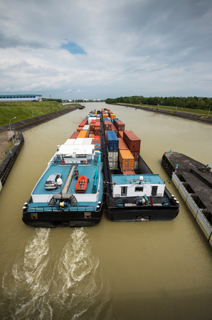 inland: containership inland waterway transportation Stock Photo