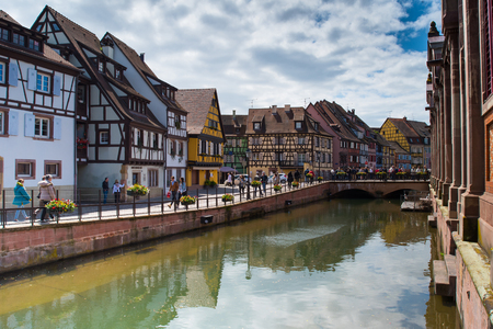 little venice: Little Venice and Canal du Logelbach in Town of Colmar in France Editorial
