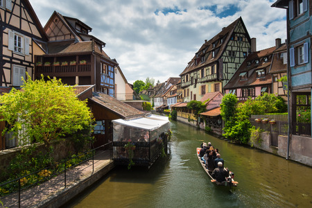 little venice: Canal du Logelbach in Little venice in old town of Colmar, France Editorial