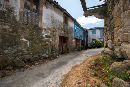 abandoned houses in deserted village in Galicia, Spain