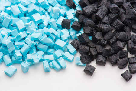 compounding: blue and black plastic granulates for injection molding industry