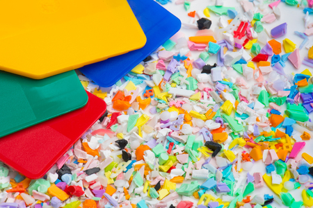 milled plastic goods with color sample plates Stock Photo
