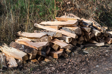 effectively: stacked and splitted wood-pile in forest Stock Photo
