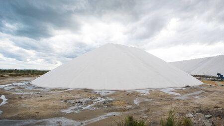 hill of salt in salina at Mediterranean Sea