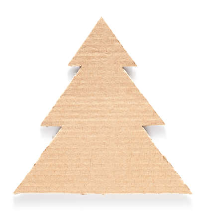 Cardboard tree on white background.