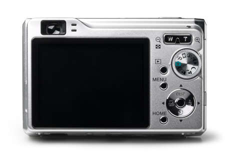 Compact digital camera on white. This file includes clipping path.