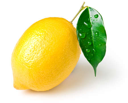 Fresh lemon on white. This file is cleaned, retouched, contains clipping path and is ready to use.