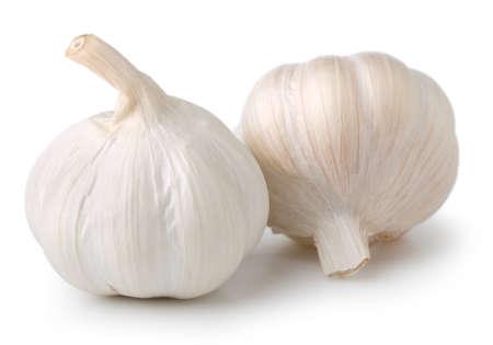 Garlic cloves on white. Archivio Fotografico