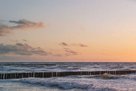 Baltic sea and sunset sky. This file is cleaned and retouched. 版權商用圖片