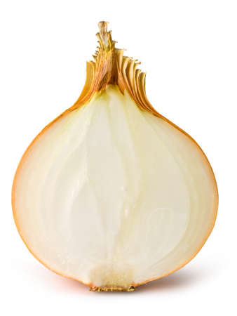 sliced onion on white clipping path included