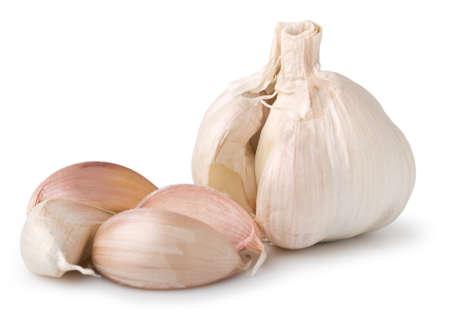 Garlic clove on white.
