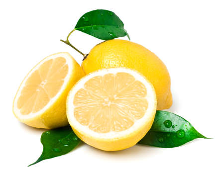 Fresh lemon on white. This file is cleaned, retouched, contains and is ready to use.