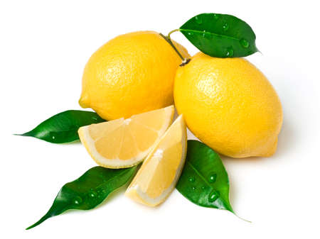 Fresh lemon on white. This file is cleaned, retouched