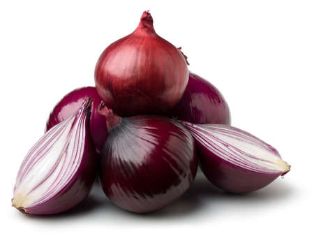 Red onions on white.