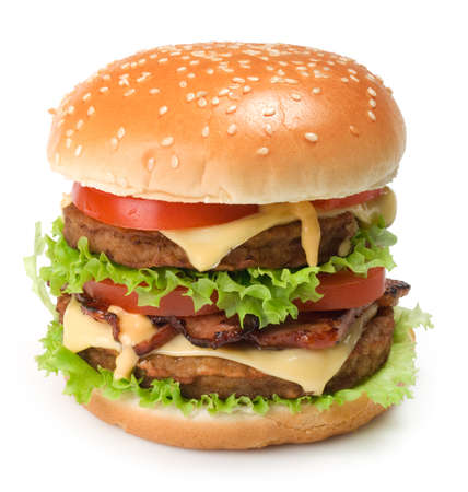 Big hamburger on white. This file is cleaned, retouched