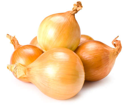 fresh gold onions on white