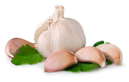 Garlic clove on white. This file includes  .