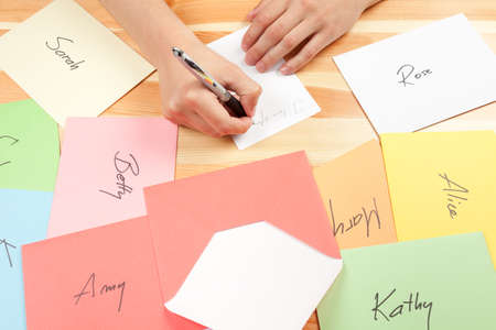 Men writing love letters to many women. This file is cleaned and retouched.