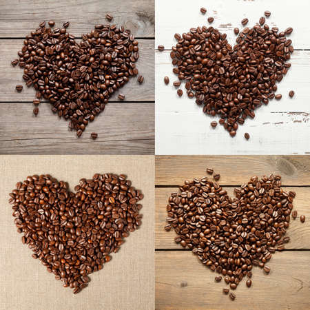 Collection of coffee beans hearts. This file is cleaned and retouched. 版權商用圖片