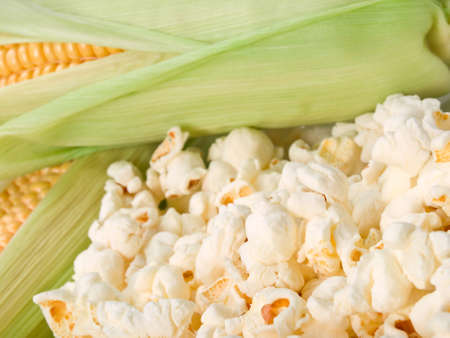 Close up of fresh corn and popcorn. This file is cleaned, retouched and is ready to use.