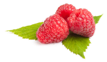Close up of Raspberries white background. This File is cleaned, retouched and contains .