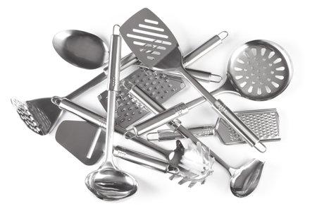 Group of kitchen utensils on white background Stock fotó