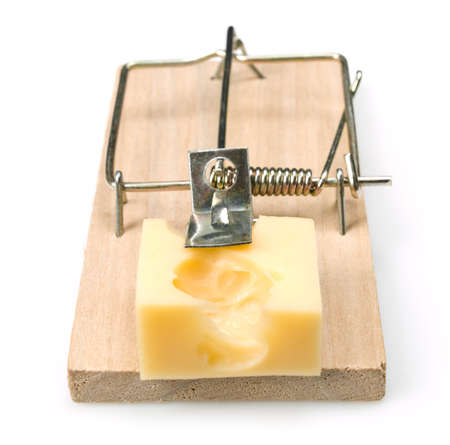 Mousetrap with cheese on white. This file is cleaned, retouched and ready to use.